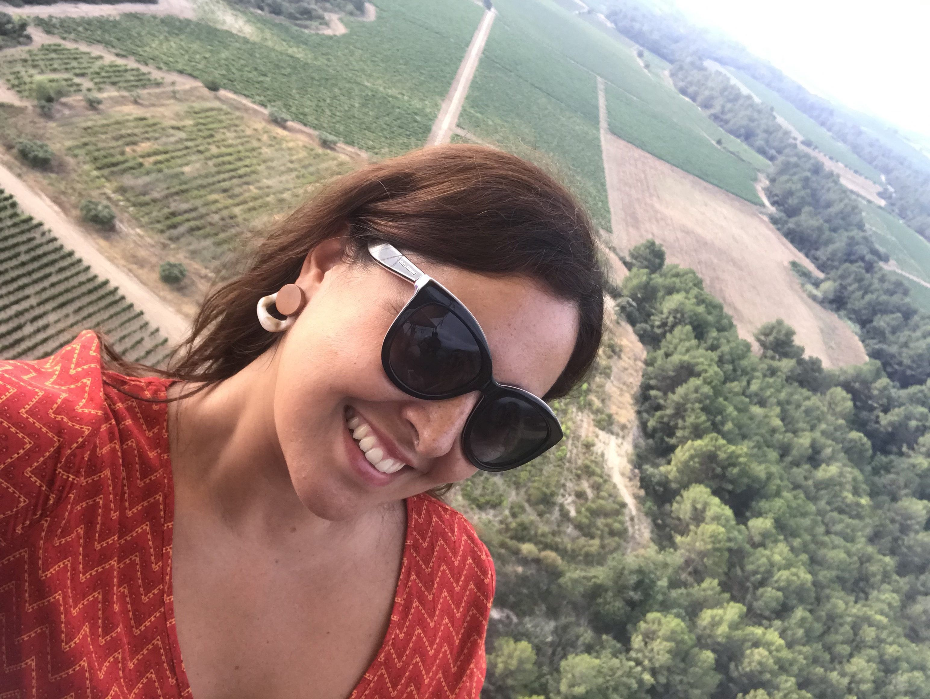 Volar en globo sobre viñedos